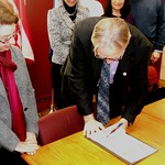 Feb. 12, 2014, Mayor Paul Wiehl signs an OU Press Week Proclamation