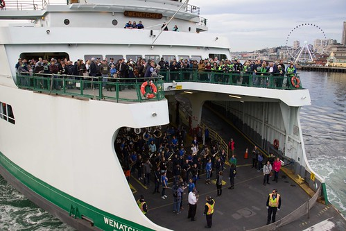 Seahawks fans gather on the pickleforks and get ready to disembark in Seattle for the big game!