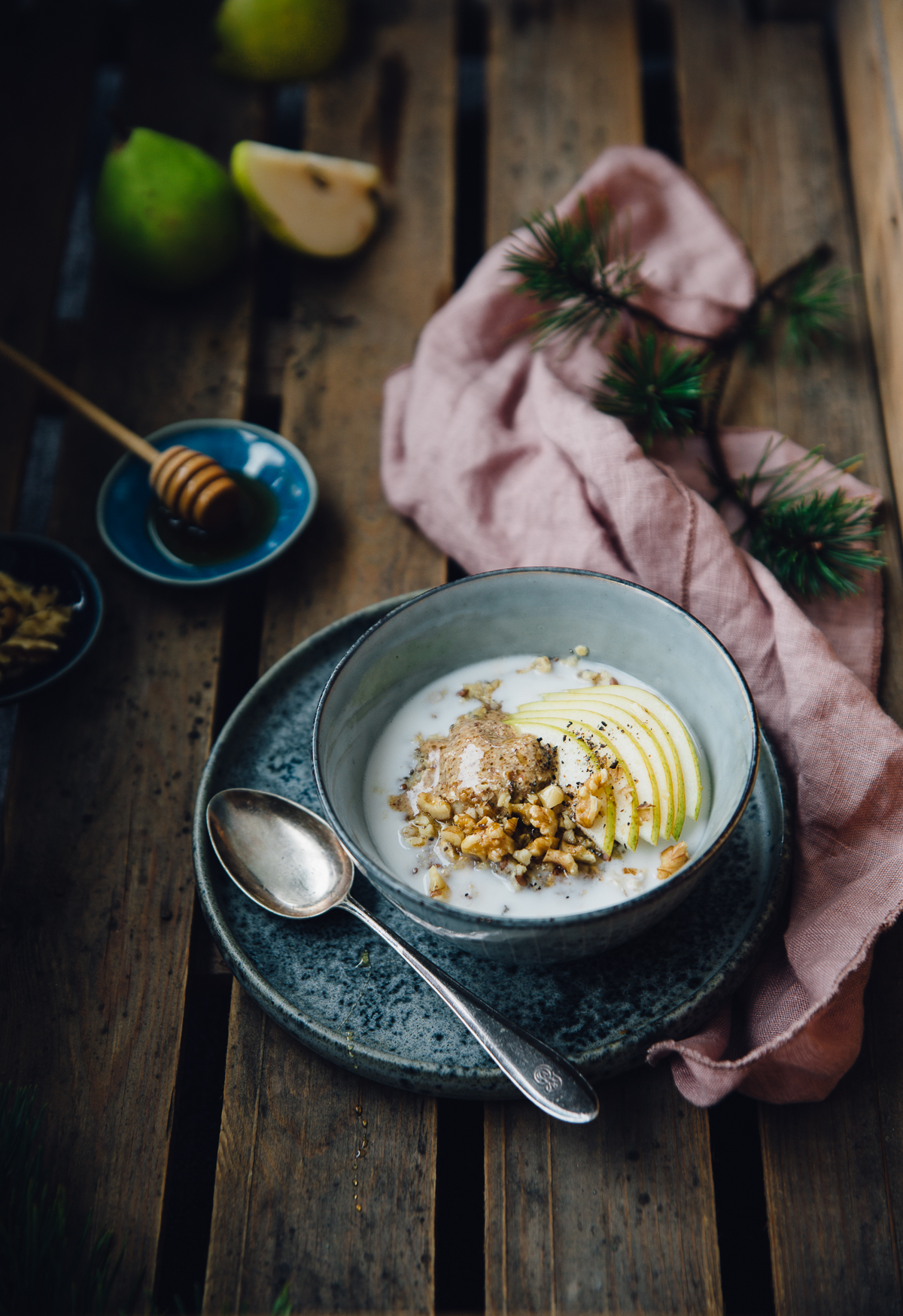 Cardamom Oats with Pear & Nut Butter | Cashew Kitchen