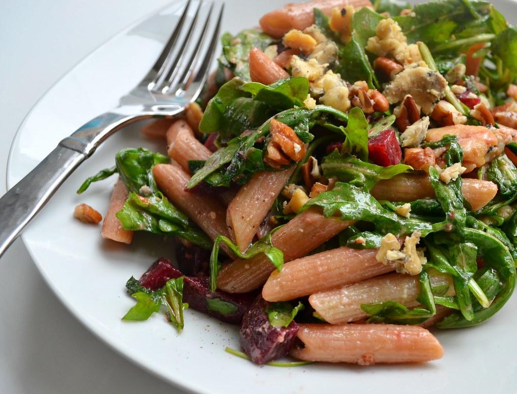 Warm Pasta & Arugula Salad | With beets, blue cheese, pecans ...