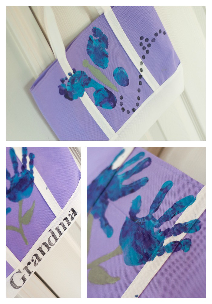 Dollar Store Gift Tote Bag with Hand and Foot Prints