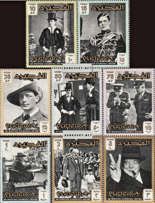 Známky Fujeira 1966 Sir Winston Churchill, razÃ-tkovaná séria