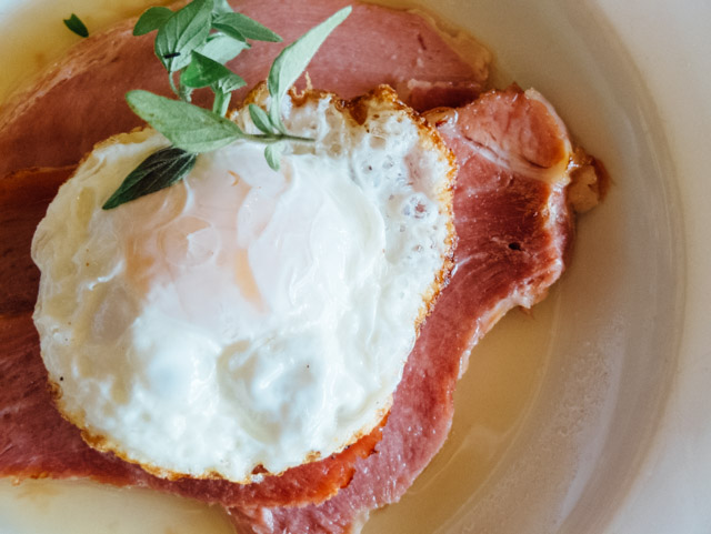 cider soaked ham and fried egg
