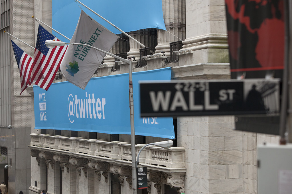 A Twitter Banner Draped Over The New York Stock Exchange For Twitter's IPO