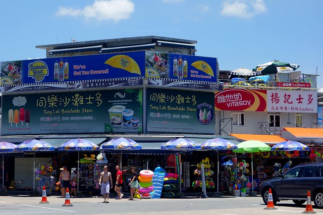 A row of shops on the main strip to the beach