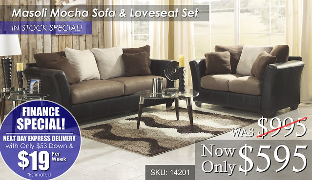 Masoli Mocha Sofa & Loveseat - FINANCE
