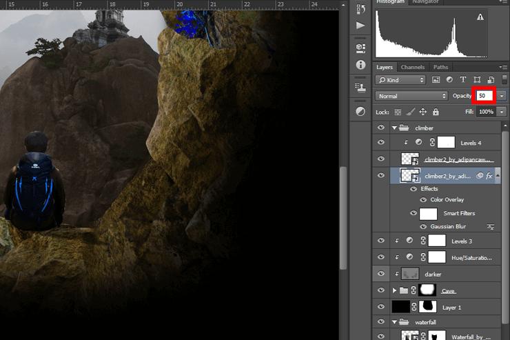 альпиниста в пещере