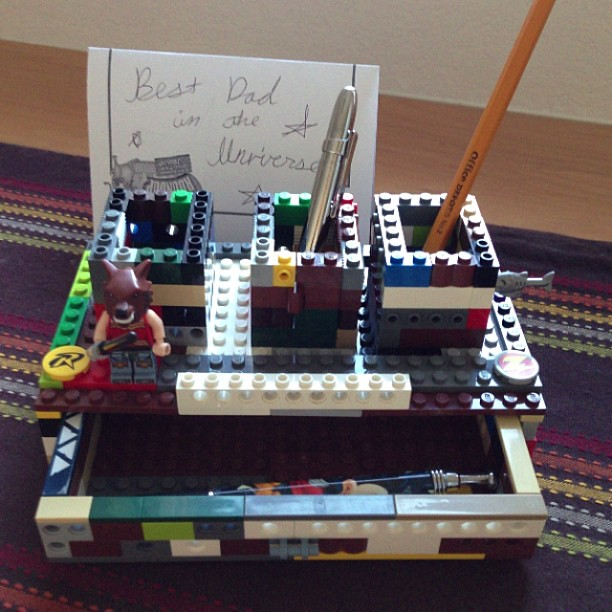 Homemade Desk Organizer Made Of Lego Complete With Functi
