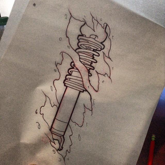 Tattoos tattoos for men - Coilover Car Tattoo Mech Biomech Color Colortattoo