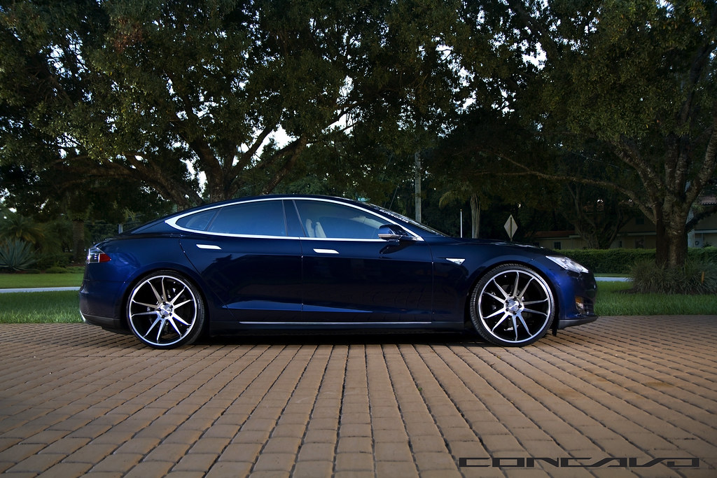 Tesla Model S On Cw S5 Matte Black Machined Face Www