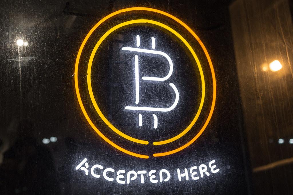 bitcoin logo bitcoin accepted here neon sign official