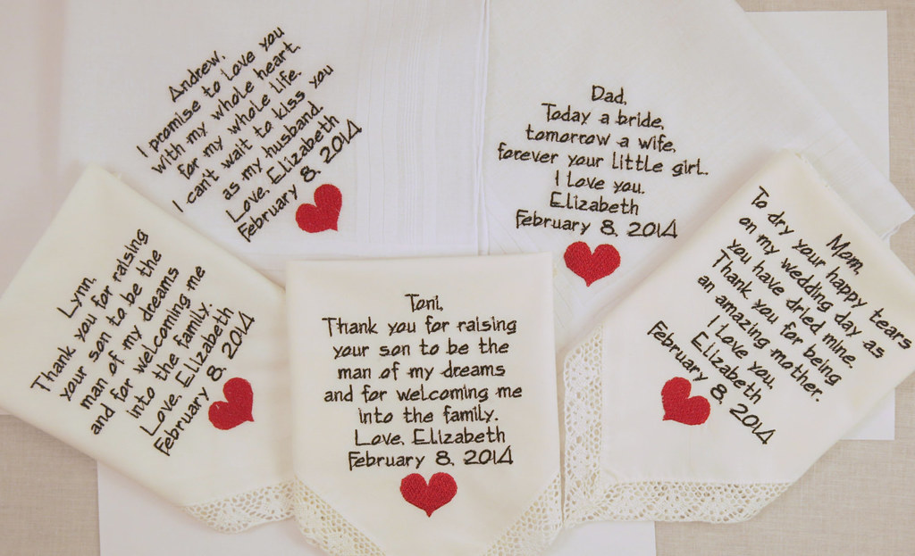 whole family gifts whole family gifts set of 5 embroidered wedding hankerchie flickr