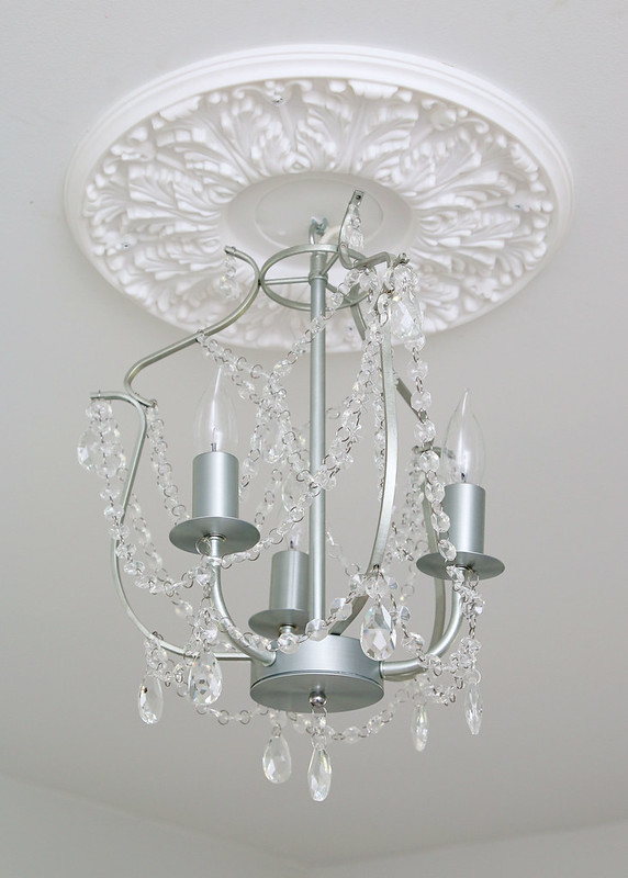 Tween Bedroom Silver Chandelier White Medallion