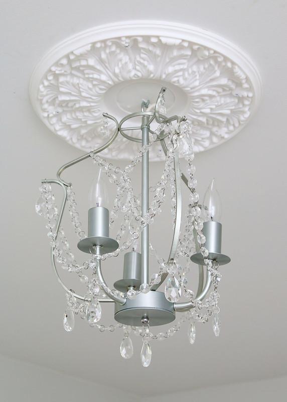 Tween Bedroom Silver Chandelier White Medallion