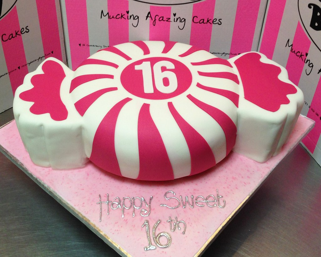 Candy Shaped Sweet Sixteen Birthday Cake Covered In Fondan Flickr