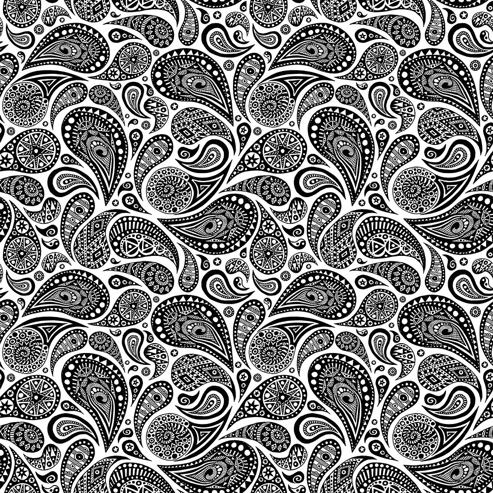 Black And White Paisley Design Crazy Pattern 4 Tiles A