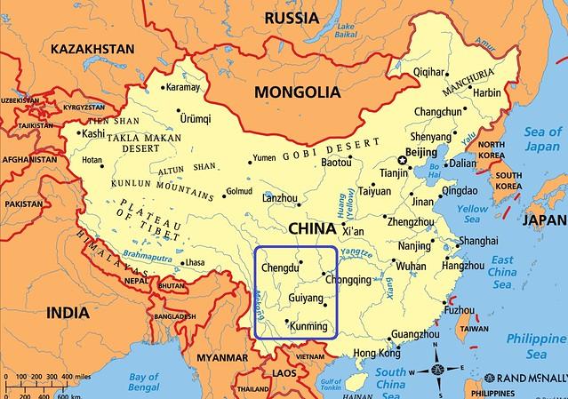 Mapa de China en el que las provincias de Sichuan y Yunnan vienen señaladas en azul (Suroeste de China)