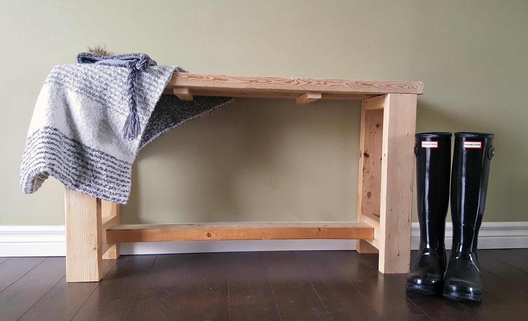 Scrap wood entry bench 2x4