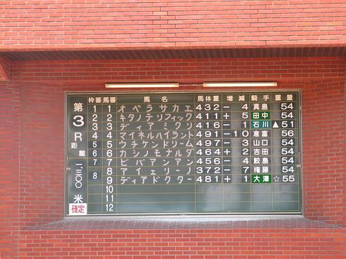 佐賀競馬場のパドックの出馬表