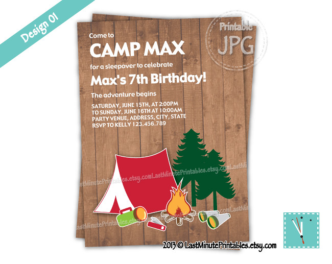 Usd 6 99 Campout Camp Birthday Party Printable Invit