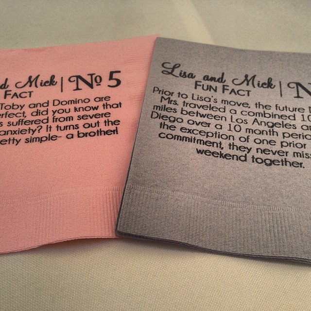 500 x 500 jpeg 173kB, Great wedding idea - couple fun facts on napkins ...