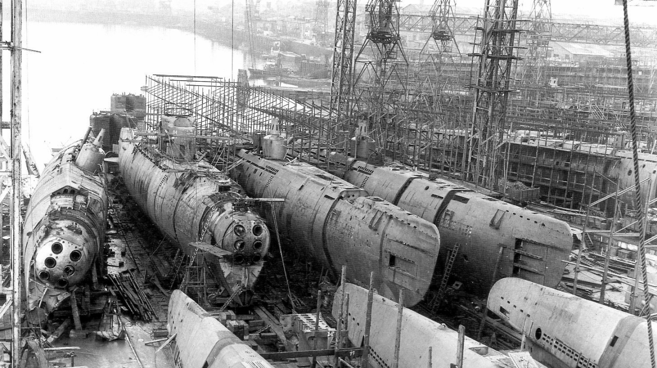 Unfinished German type XXI submarines at a shipyard AG Weser in Bremen 1945