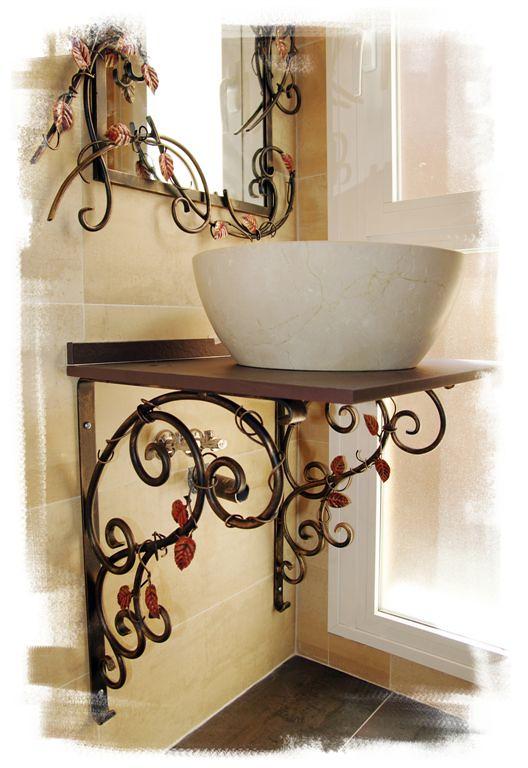 Muebles de Baño en Forja y Acero Corten de Olaya Herrería
