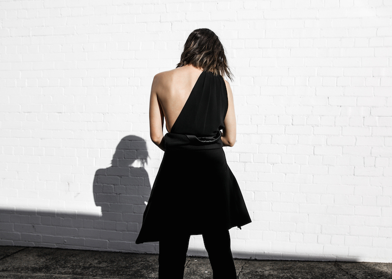 Givenchy one shoulder trend jumpsuit all black street style inspo fashion blogger Antigona minimal modern legacy yoox (5 of 13)