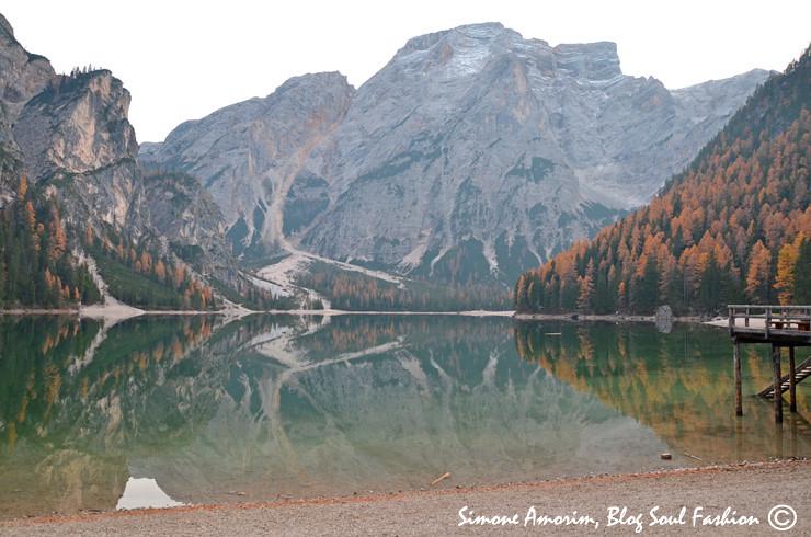 Durante o outono fica ainda mais lindo com as folhas amarelas dos pinheiros ao redor do lago.