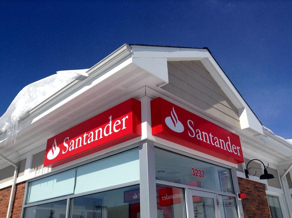 Santander Bank Sign And Facade Front