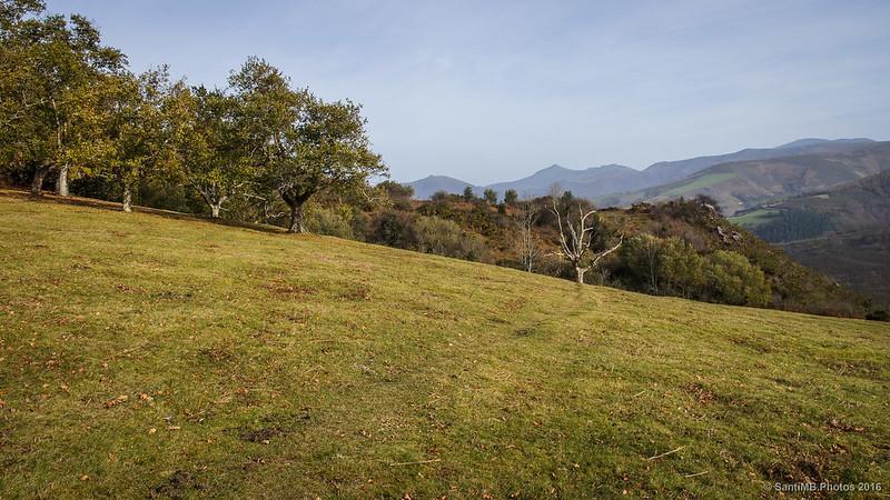 Imperceptible sendero que va a la cima del monte Azkar