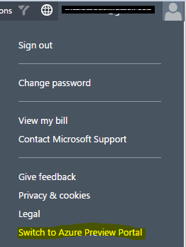 Windows Azure switch to Azure Preview Portal