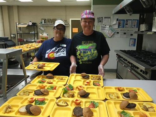 Staff at Ridgway School District serving a meal