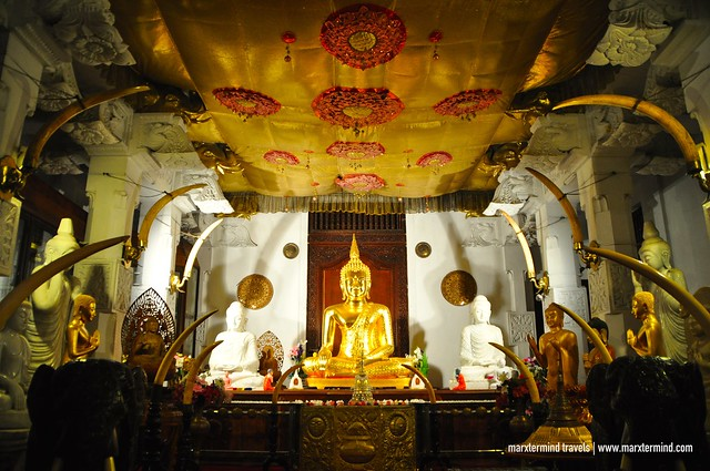 Inside Temple of the Tooth in Kandy