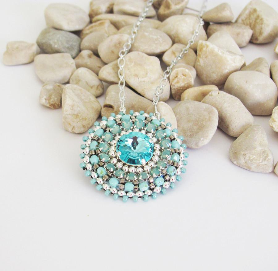 Sterling silver necklace bead embroidery pendant rivoli