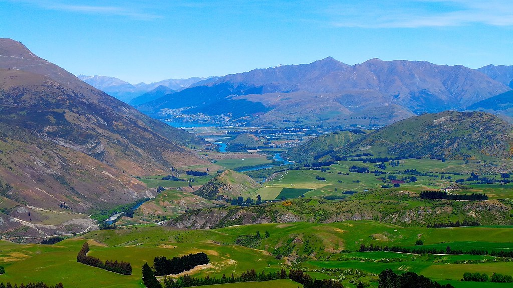 Queenstown and the airport from crown pass sally flickr for Landscaping companies in new zealand