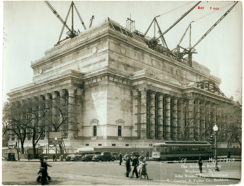 Photograph Of The National Archives Building Being Constru