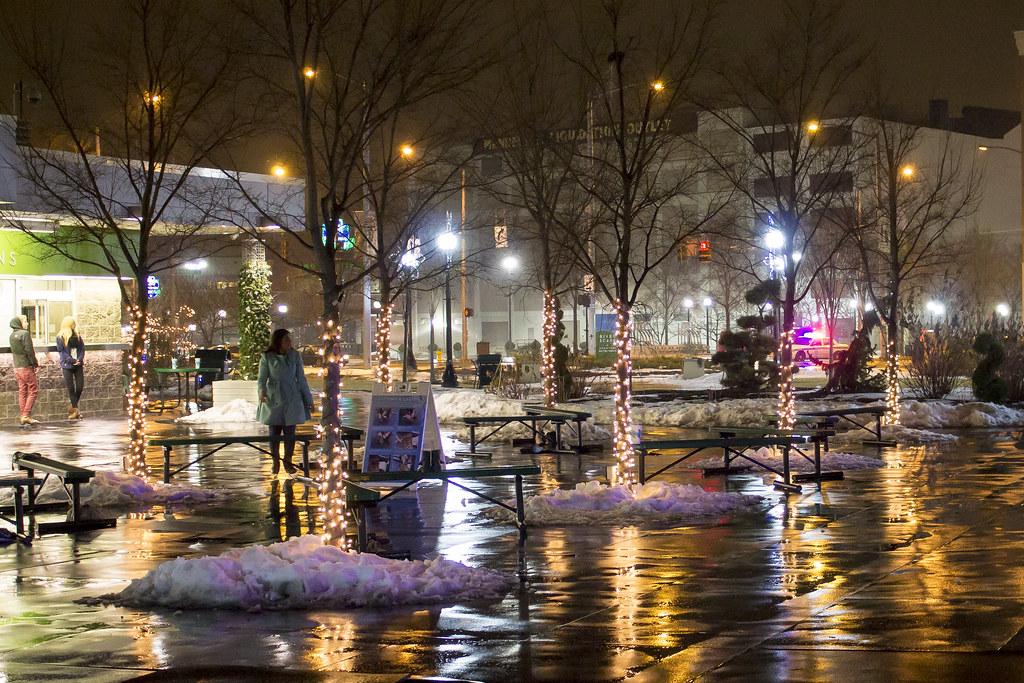 Wet Winter Night At Riverscape Metropark Dayton Ohio