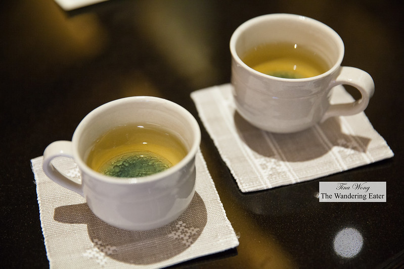 Cups of hot sencha tea at arrival to the spa