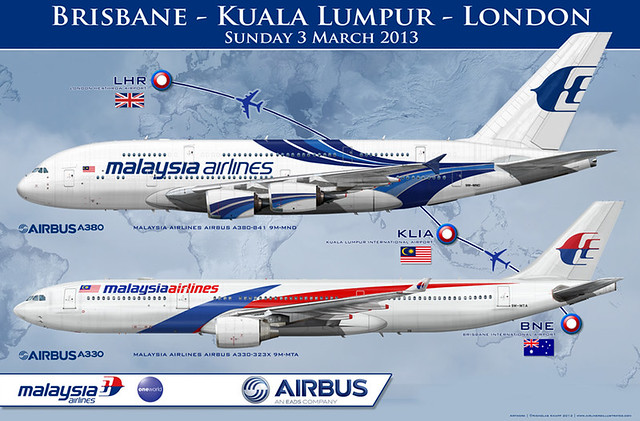 MALAYSIA AIRLINES AIRBUS A330 300 & A380 800 Airliner Art