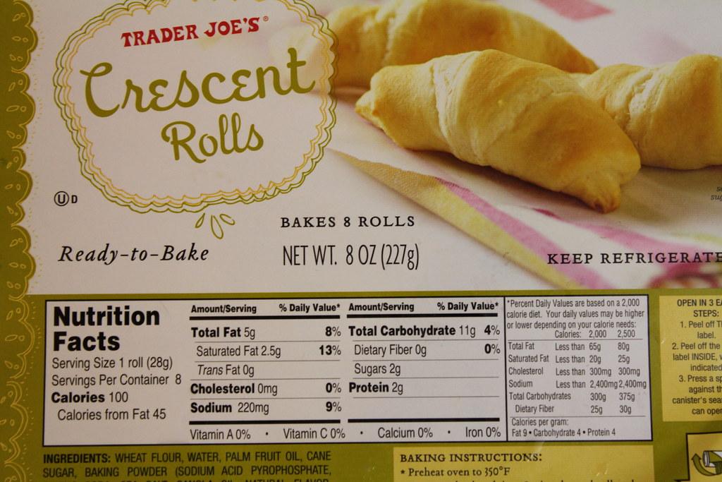 Trader Joes Crescent Rolls Packaging Nutrition Informat Flickr