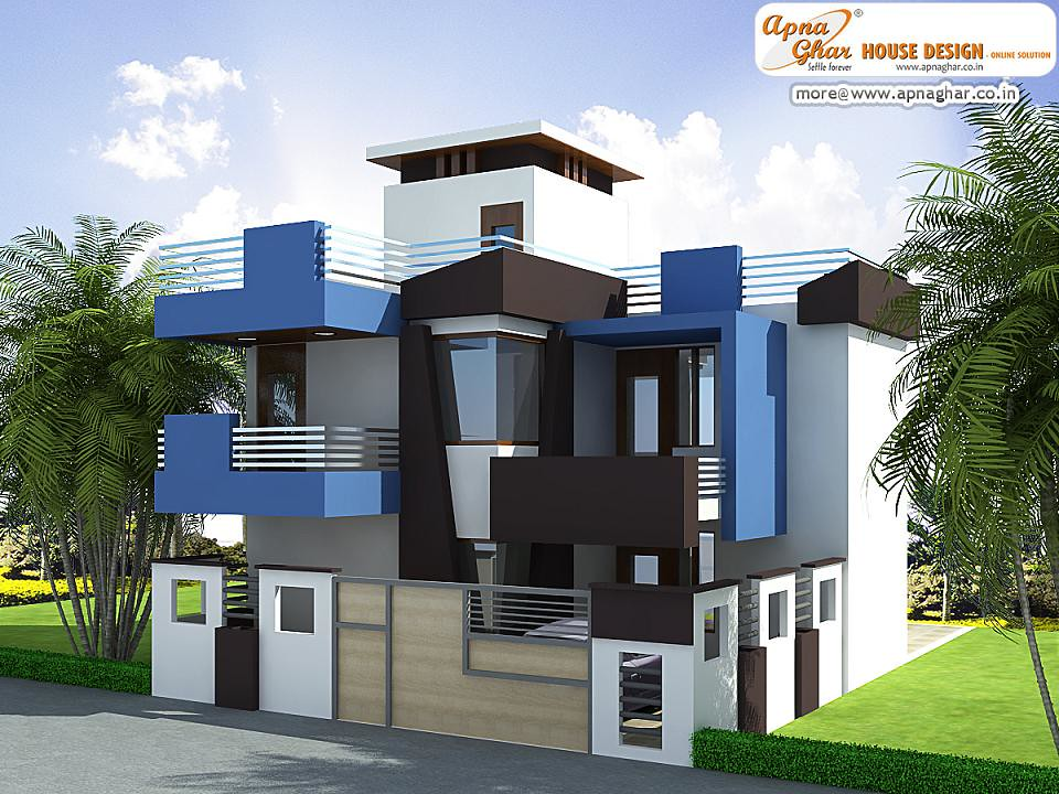 Modern duplex house exterior elevation modern duplex for Contemporary indian house elevations