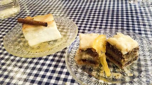 Galatapoureko and baklava at Kanella Grill