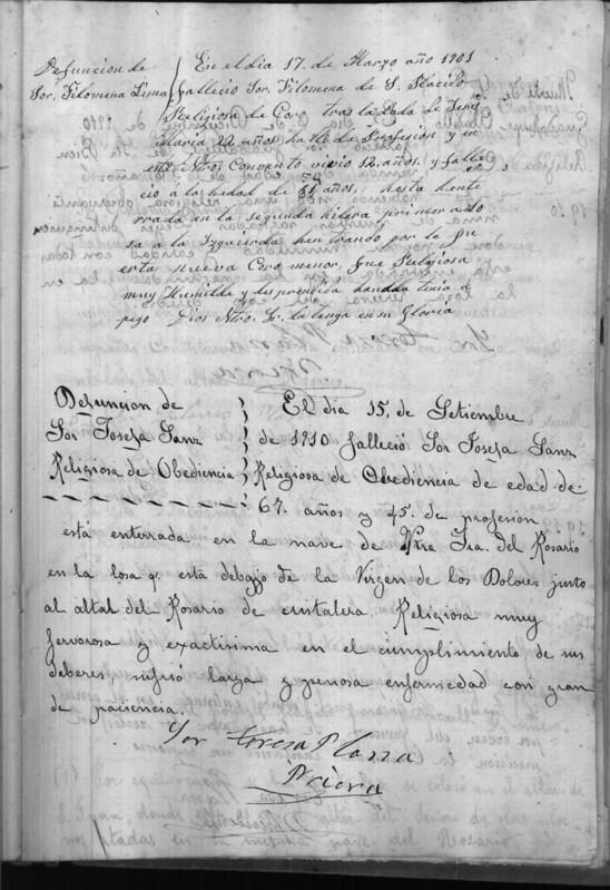 Nota sobre el fallecimiento de Sor Filomena de San Plácido el 17 de marzo de 1901. Archivo del Convento de Santo Domingo el Real. Libro de Defunciones.