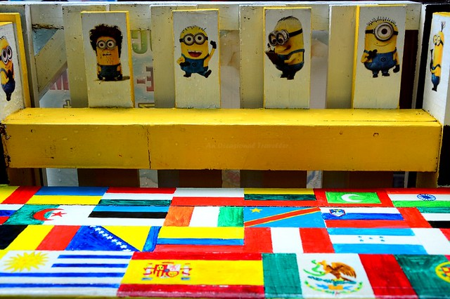 The tables are decorated with characters from Despicable Me and colourful flags