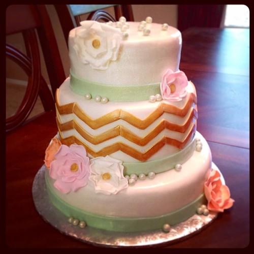 Gold Chevron Wedding Cakes