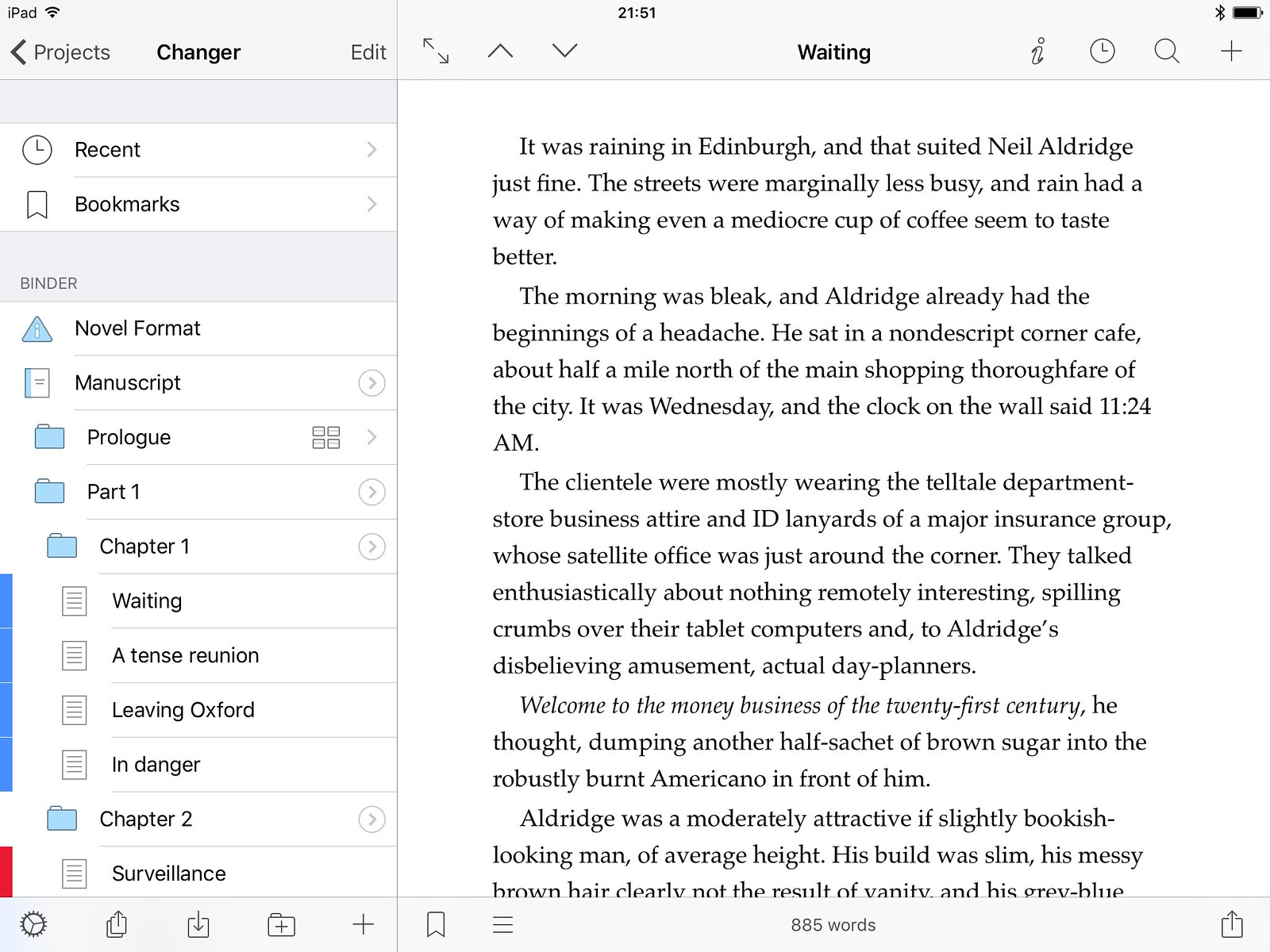 Scrivener on iPad, with sidebar Binder visible