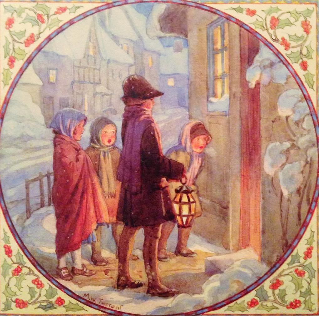 "Margaret Tarrant Christmas Card - ""Carol Singers"""