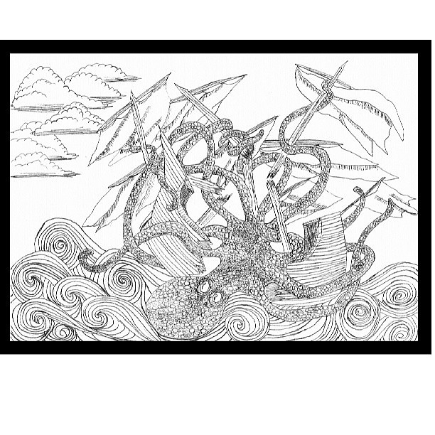 Octopus Shipwreck Drawing #octopus #drawi...