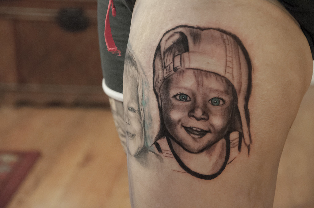 Little kid portrait tattoo little kid portrait tattoo for Little kid tattoos
